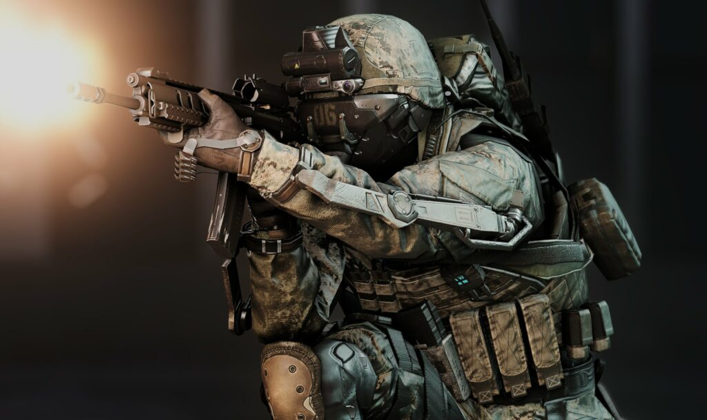 solider holding a gun in call of duty